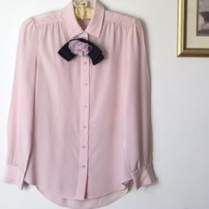Kate spade pink collared blouse with rosette pin
